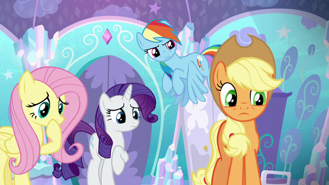 File:Applejack and friends looking at Shining Armor S6E1.png