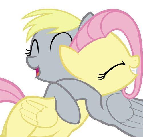 File:FANMADE Derpy hugging Fluttershy.jpg