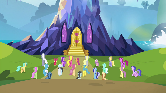 File:Ponyville residents approaching the castle S4E26.png