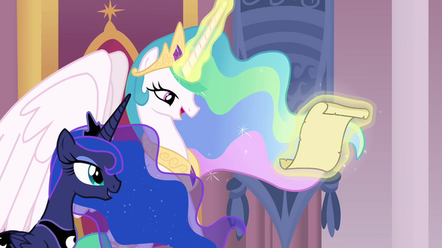 File:Celestia and Luna reading friendship report S4 opening.png