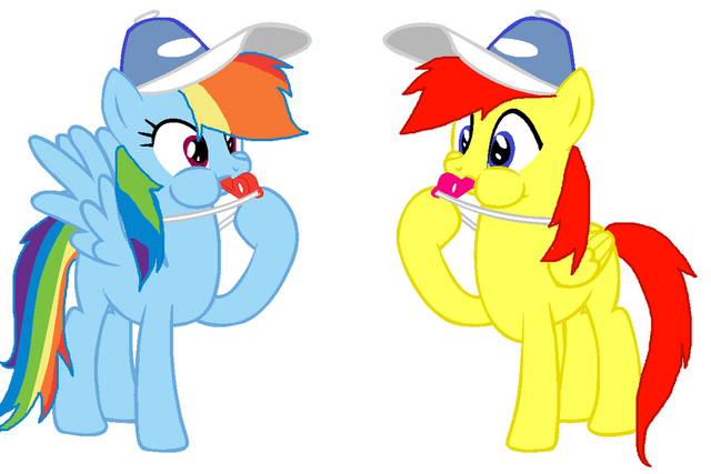 File:FANMADE Rainbow Dash and Crimson Blowing Whistles.png