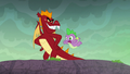 Garble pushes Spike off the cliff S6E5.png