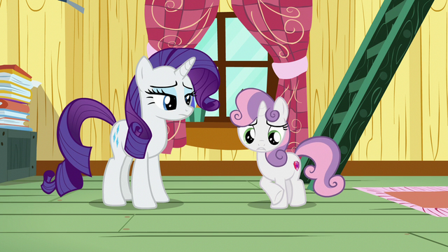 File:Sweetie Belle acts uncomfortable in front of Rarity S7E6.png