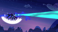 Nightmare Moon firing at Celestia S4E02