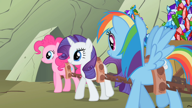 File:The ponies hauling gems back to Ponyville S1E19.png