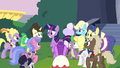 Twilight, Spike, and Canterlot ponies S4E01.png
