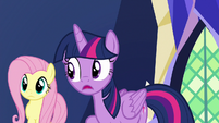 Twilight Sparkle trying to interrupt Pinkie Pie S7E11