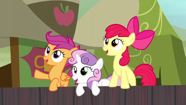 File:Cutie Mark Crusaders cheer for Applejack S5E6.png