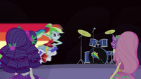 Rainbow Dash speeding onto the stage EG4