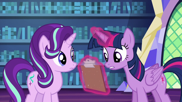 File:Twilight Sparkle looking at lesson checklist S6E21.png