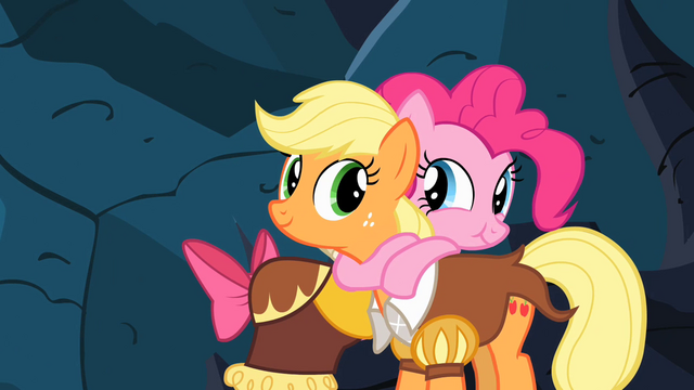 File:Pinkie Pie and Applejack hugging S2E11.png