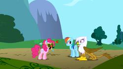 Gilda sees Pinkie Pie wearing strange headgear S1E05