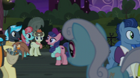 Ponies mingle after the play S5E16