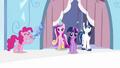 Pinkie Pie playing flugelhorn near Twilight, Shining and Cadance S3E1.png