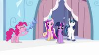 Pinkie Pie playing flugelhorn near Twilight, Shining and Cadance S3E1