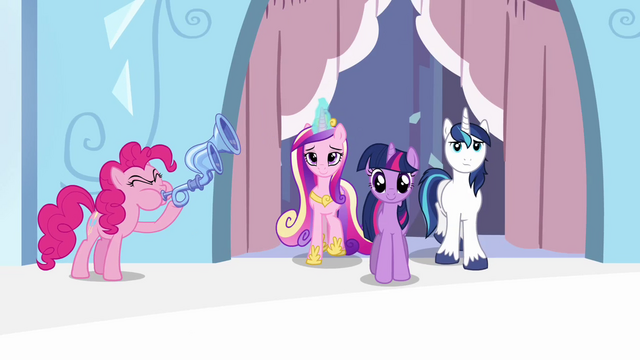 File:Pinkie Pie playing flugelhorn near Twilight, Shining and Cadance S3E1.png
