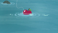 Apple bait being thrown onto the water S4E20.png