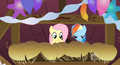 Fluttershy and Rainbow Dash hiding S2E14.png