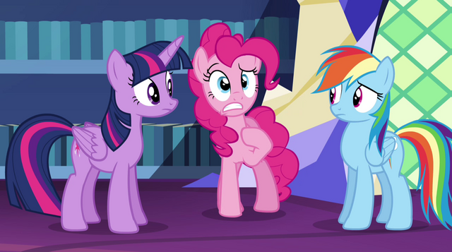 "File:Pinkie Pie ""why wasn't I told about it?"" EG2.png"