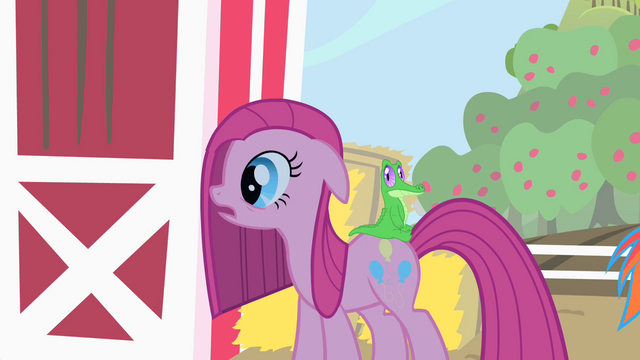 File:Pinkie Pie looks at what her friends have prepared for her S1E25.png