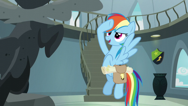 File:Rainbow salutes to Wonderbolt statue S5E3.png