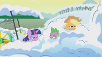 Twilight, AJ, and Spike in pile of snow S1E11
