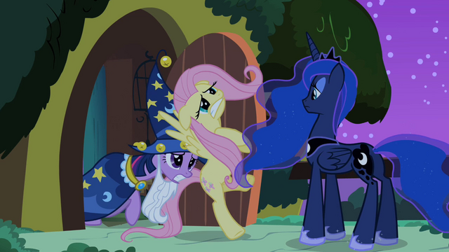File:Twilight pushes Fluttershy towards Princess Luna S2E04.png