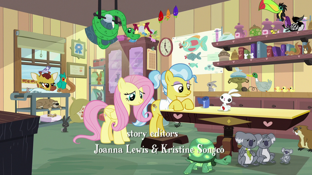 File:Fluttershy and Dr. Fauna in animal-crowded clinic S7E5.png