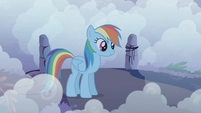 Rainbow Dash listens to The Shadowbolts complimenting her S1E02