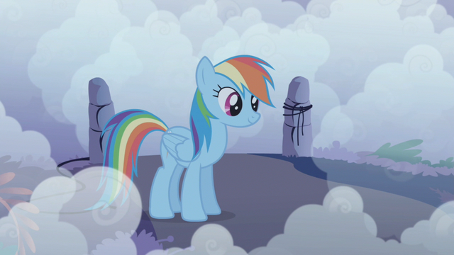 File:Rainbow Dash listens to The Shadowbolts complimenting her S1E02.png