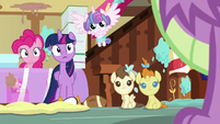 Twilight, Pinkie, and babies look at Spike S7E3