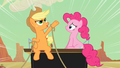 Applejack and Pinkie Pie on the coach S2E14.png