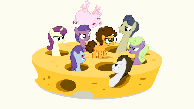 File:Ponies and a flying pig looking at Cheese angrily S4E12.png