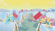 Ponyville's residents, participating in the Winter Wrap Up S01E11.png