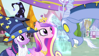 Discord looking at Cadance and Twilight S4E11