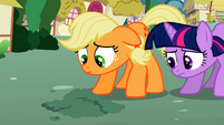 Twilight and hat-less Applejack S02E06