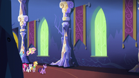 Twilight and friends walking through the castle S5E3