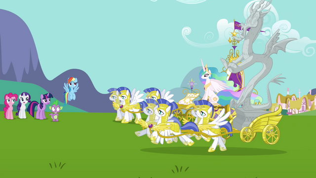 File:Celestia and Discord arrive to Ponyville S3E10.png