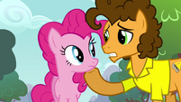 Cheese with hoof on Pinkie's chin S4E12