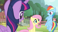 Fluttershy 'are singing at the Pet Center fundraiser' S4E14