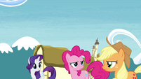 Rarity, Pinkie and Applejack look at each other S4E26
