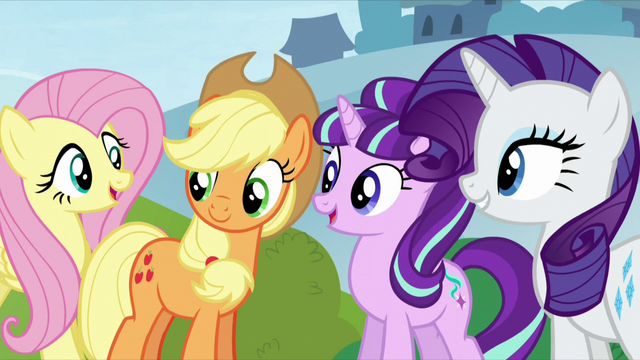 File:AJ, Starlight, and Rarity see Pinkie S5E26.png