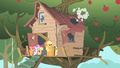 Ponies looking at treehouse roof colapsing S1E18.png