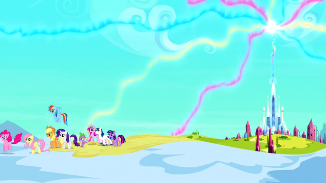 File:Distant Crystal Empire with main 6, Spike, Cadance, Shining Armor S3E02.png