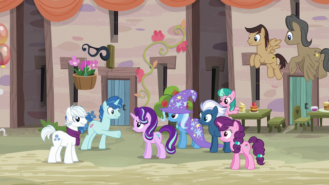 File:Our Town villagers happily greeting Starlight Glimmer S6E25.png