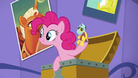 Pinkie holds a Brutus Force toy S5E19