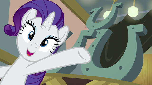 File:Rarity presenting three-hoof restaurant sign S6E12.png