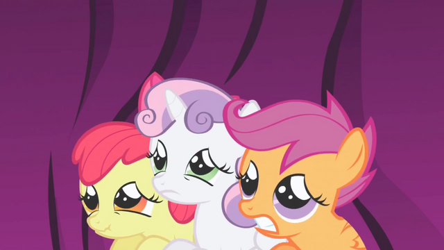 File:Cutie Mark Crusaders cowering S1E01.png