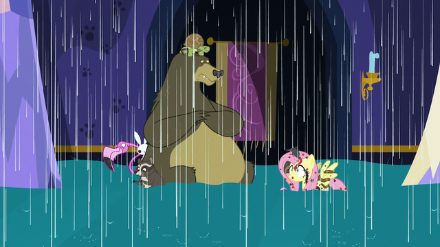 File:Fluttershy and animals in a castle flood S6E21.png