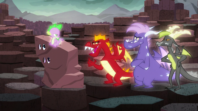 """File:Garble mockingly says Spike's name as """"Sparkle-warkle"""" S6E5.png"""